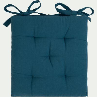 Galette de chaise carrée en coton - bleu figuerolles 40x40cm-CALANQUES