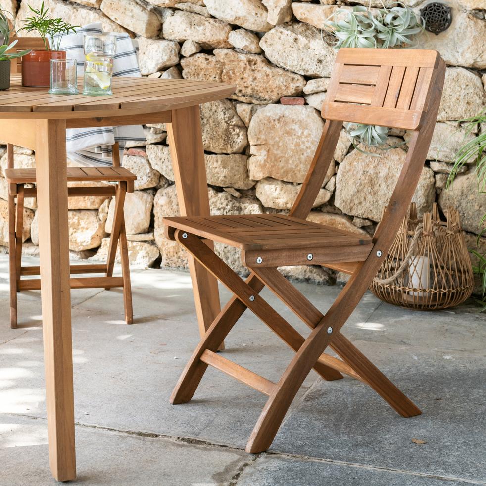 Youk - Chaise de jardin pliante en acacia huilé