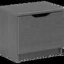 Table de chevet finition pin gris foncé 1 porte-BROOKLYN