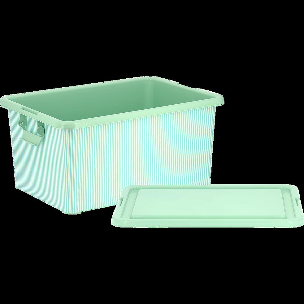 bo te de rangement enfant avec couvercle vert d 39 eau ray e 23l rayure bo tes de rangement. Black Bedroom Furniture Sets. Home Design Ideas