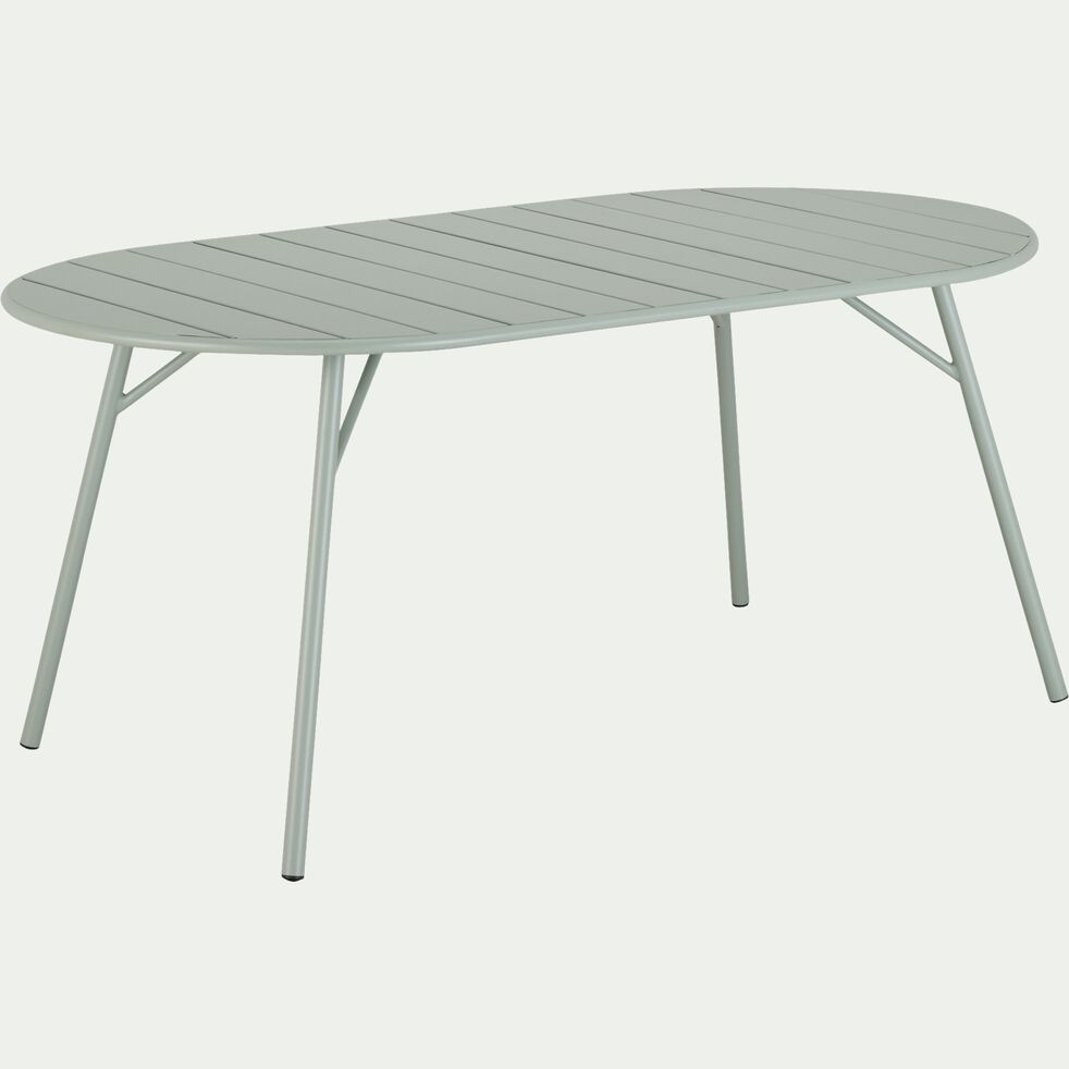 Table de jardin ovale en acier - vert olivier (6 à 8 places)-DOUNA
