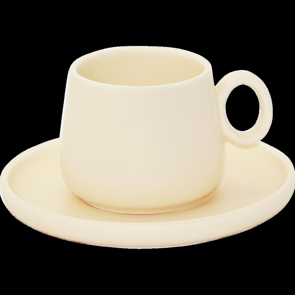 Tasse et sous-tasse en porcelaine beige mat-OSAKA