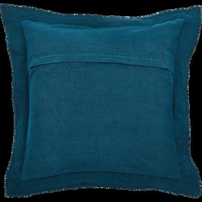 Coussin en lin et coton à volants bleu figuerolles 45x45cm-KOGON