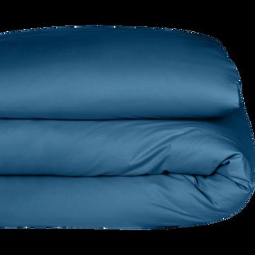 Housse de couette enfant en coton lavé bleu figuerolles 140x200cm-CALANQUES