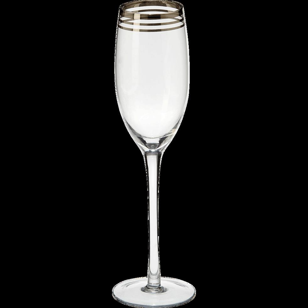 Flûte en verre décorée avec bandes coloris argent-Platinium