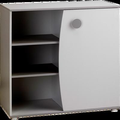 Commode 1 porte blanc en bois-Camille