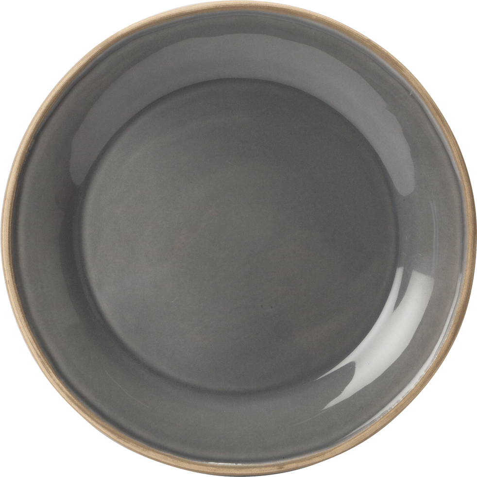 Assiette à dessert en faïence gris restanque D22cm-LUBERON