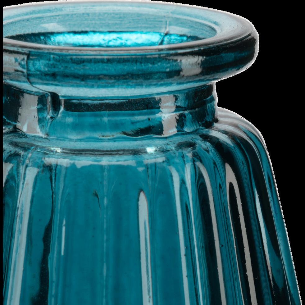 Vase en verre bleu H10cm-Psiras