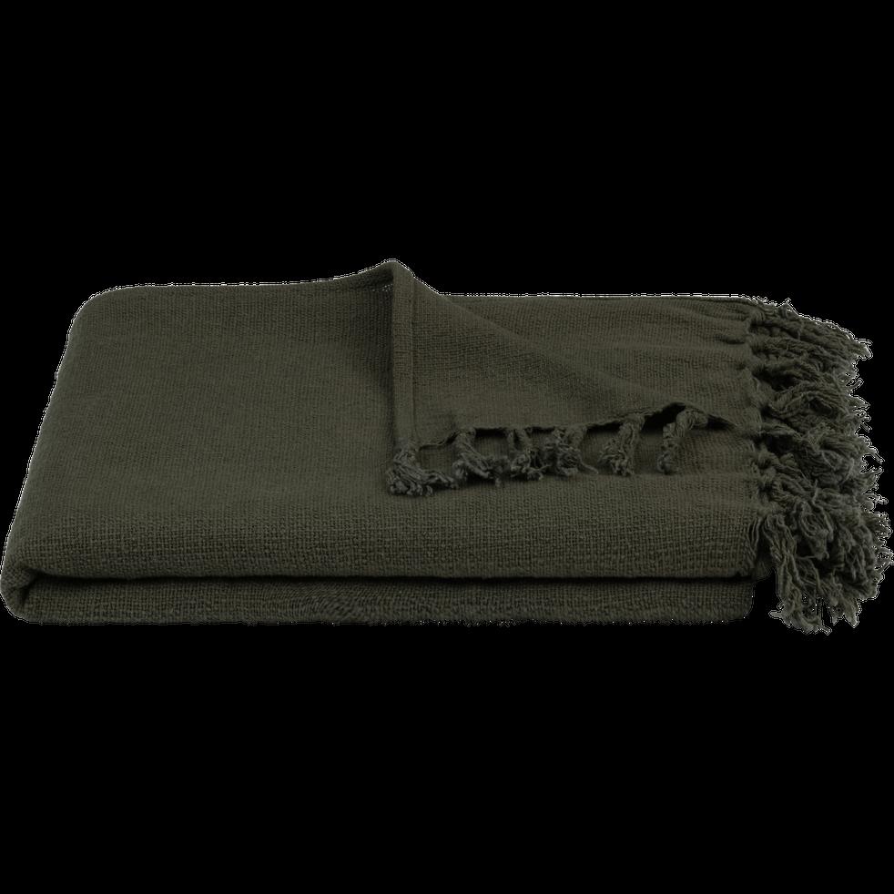 Plaid à franges en coton vert cèdre 130x170cm-CALANQUES