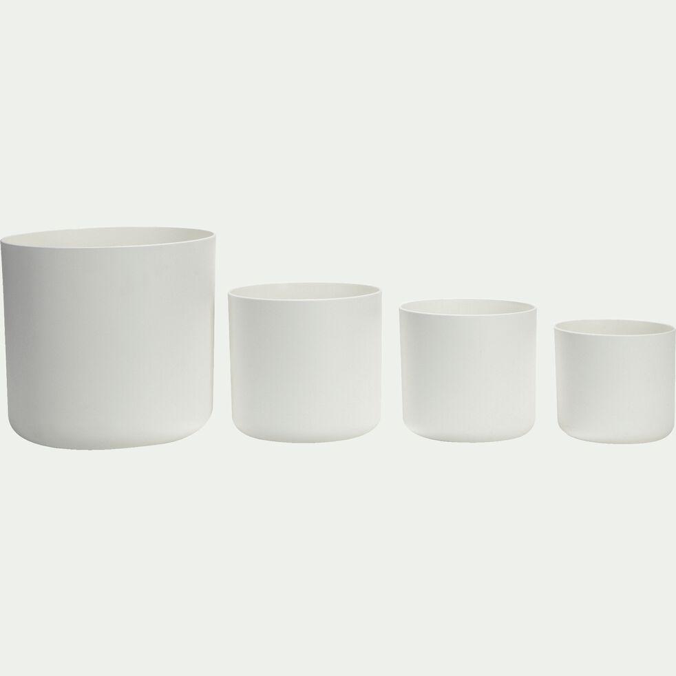 Cache-pot blanc en plastique H15xD16cm-B FOR