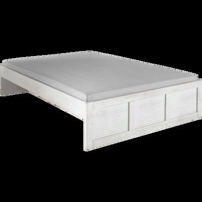 Lit 2 places en pin brossé Blanc - 160x200 cm-JALOUSIE