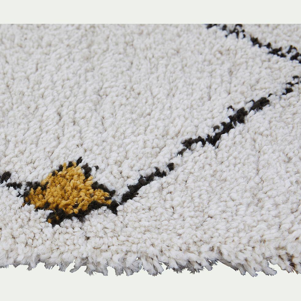 Tapis à motif d'inspiration berbère - écru et jaune 80x150cm-MICA