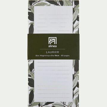Bloc note aimanté motif floral 80 pages-LAURIER