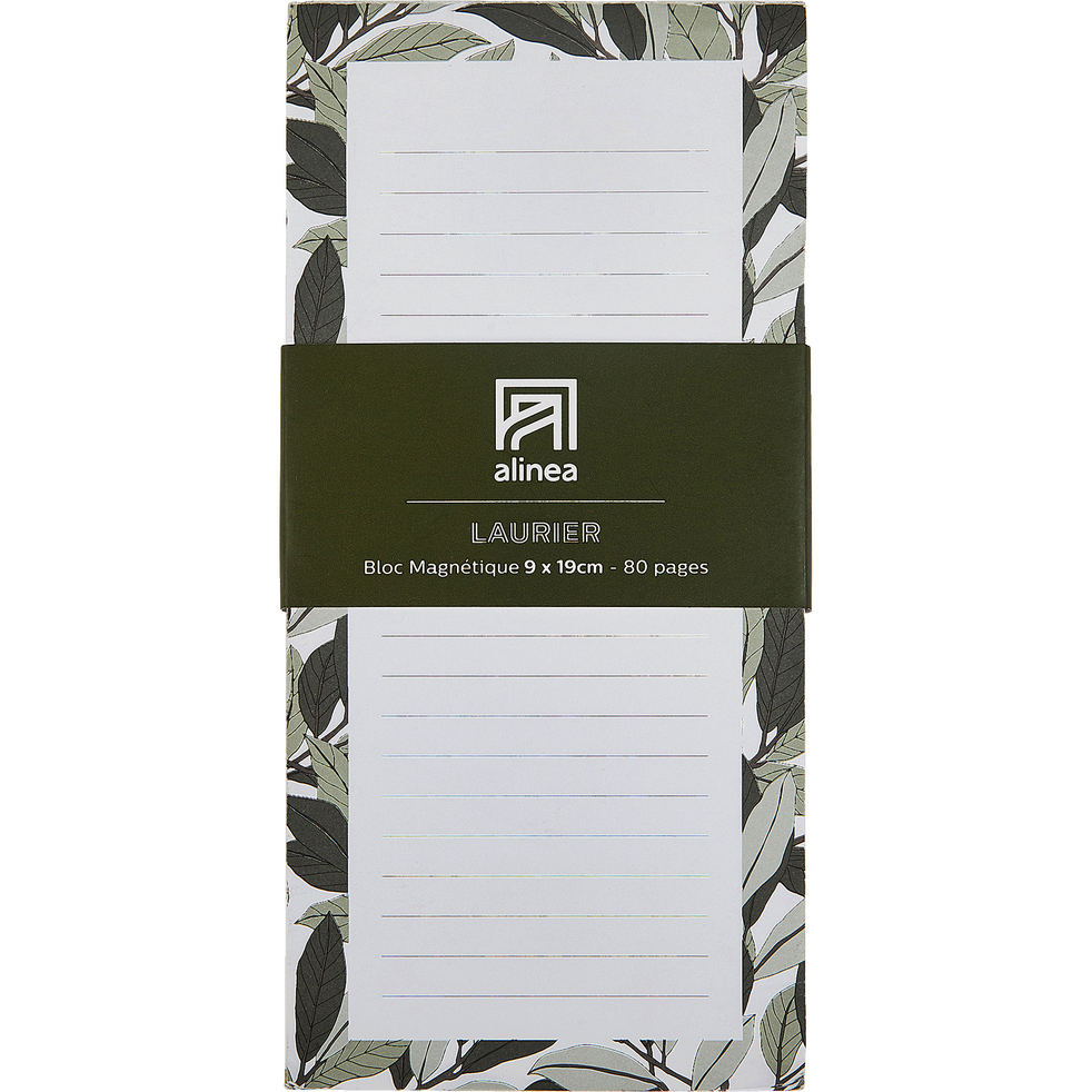 Bloc note aimanté motif floral 80 pages-LAURIER