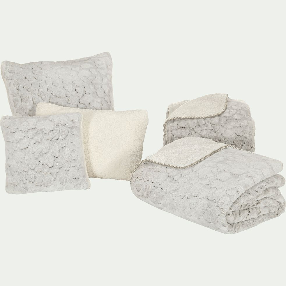 Jeté de lit réversible imitation fourrure en polyester - beige 180x230cm-Sofy