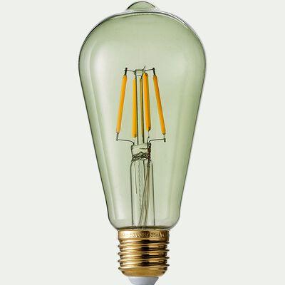 Ampoule déco LED à filament blanc chaud - vert kaki-POIRE