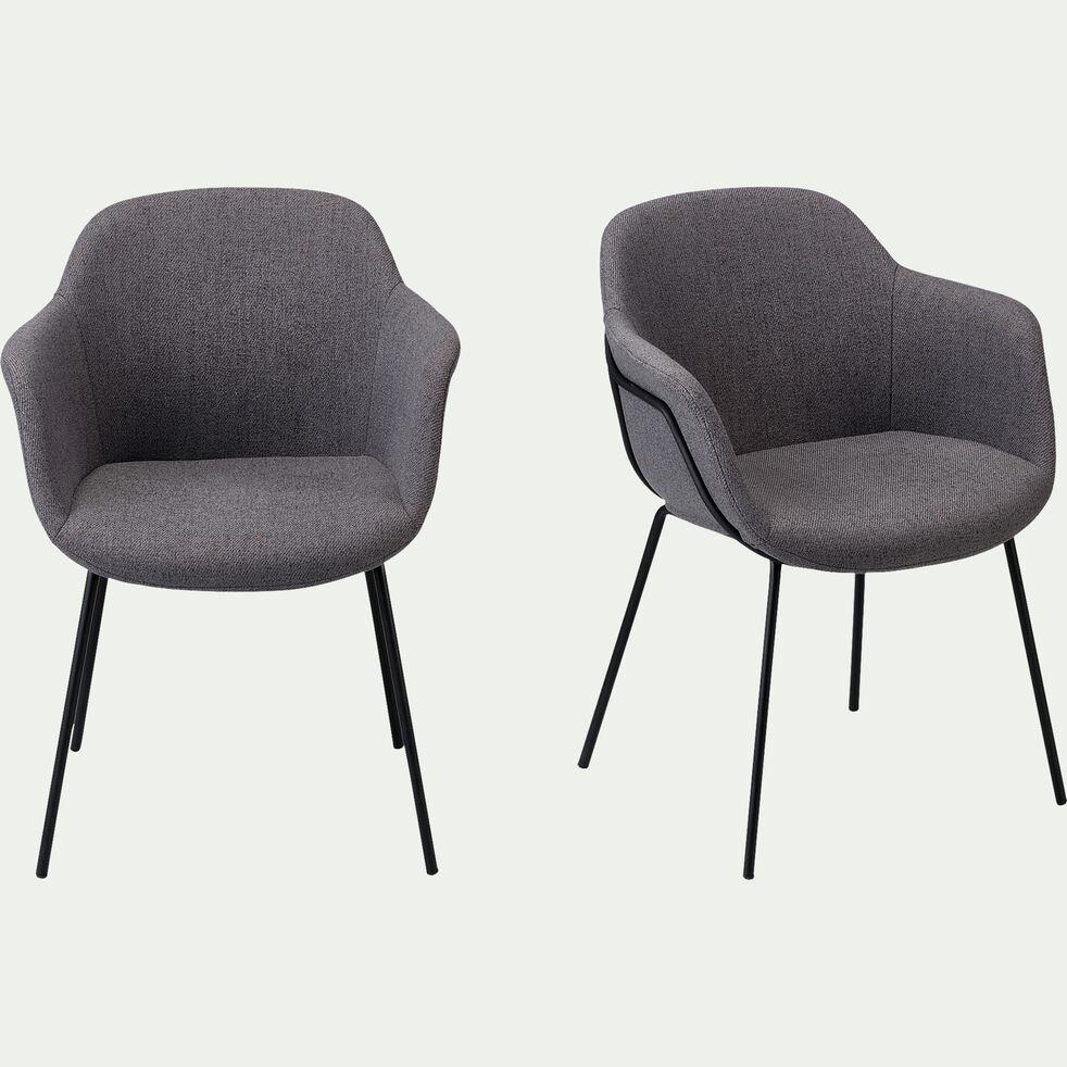 Chaise en tissu avec accoudoirs - gris ardoise-CHLOE