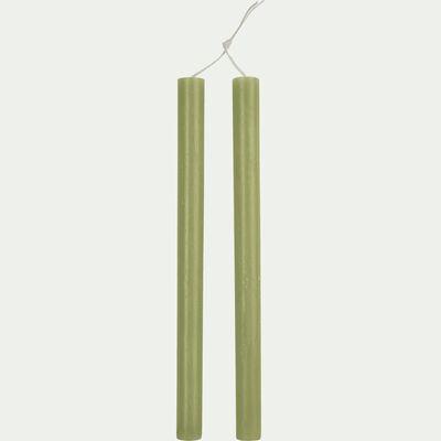 Bougie duo de flambeaux vert garrigue D2xH30cm-BEJAIA