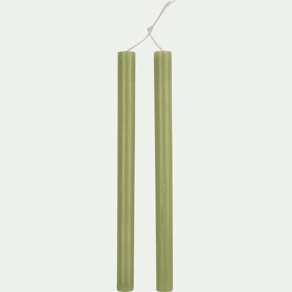 Lot de 2 bougies flambeaux - vert garrigue H30cm-BEJAIA