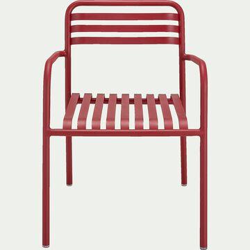 Chaise de jardin en aluminium avec accoudoirs rouge sumac-VITOR