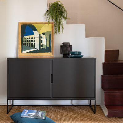 Buffet bas 2 portes en bois et acier - noir mat-CARRY