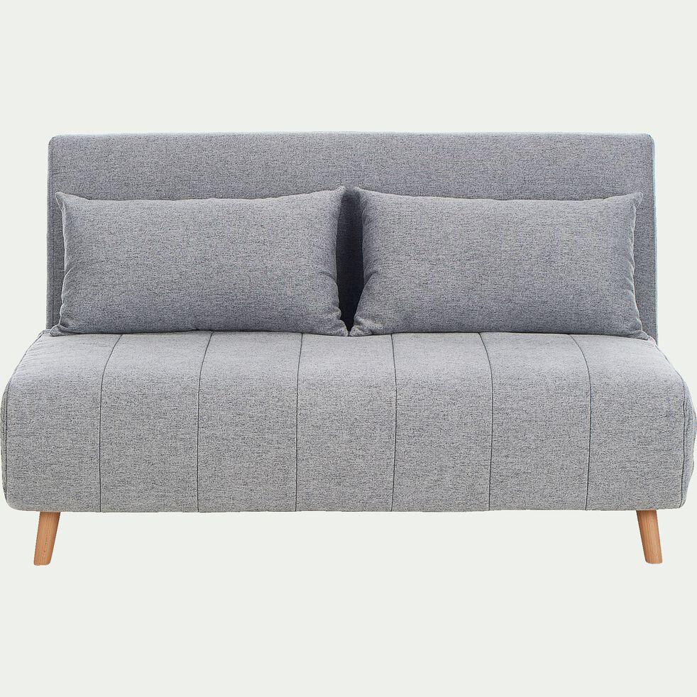 Canapé 2 places convertible en tissu - gris clair-NOLI