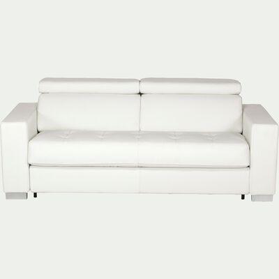 Canapé 3 places fixe en cuir de buffle blanc-Mauro