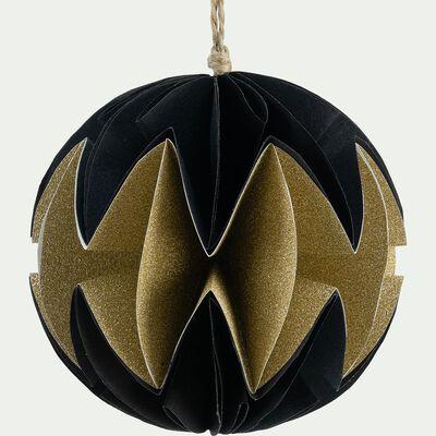 Boule de Noël en papier noir et or D8cm-BAKAL