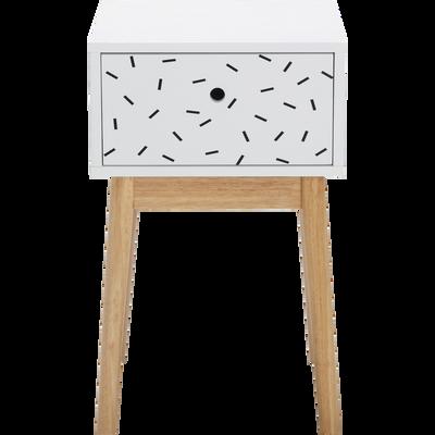 Table de chevet structure en hévéa massif blanche 1 tiroir traits noirs-GRAPHIC