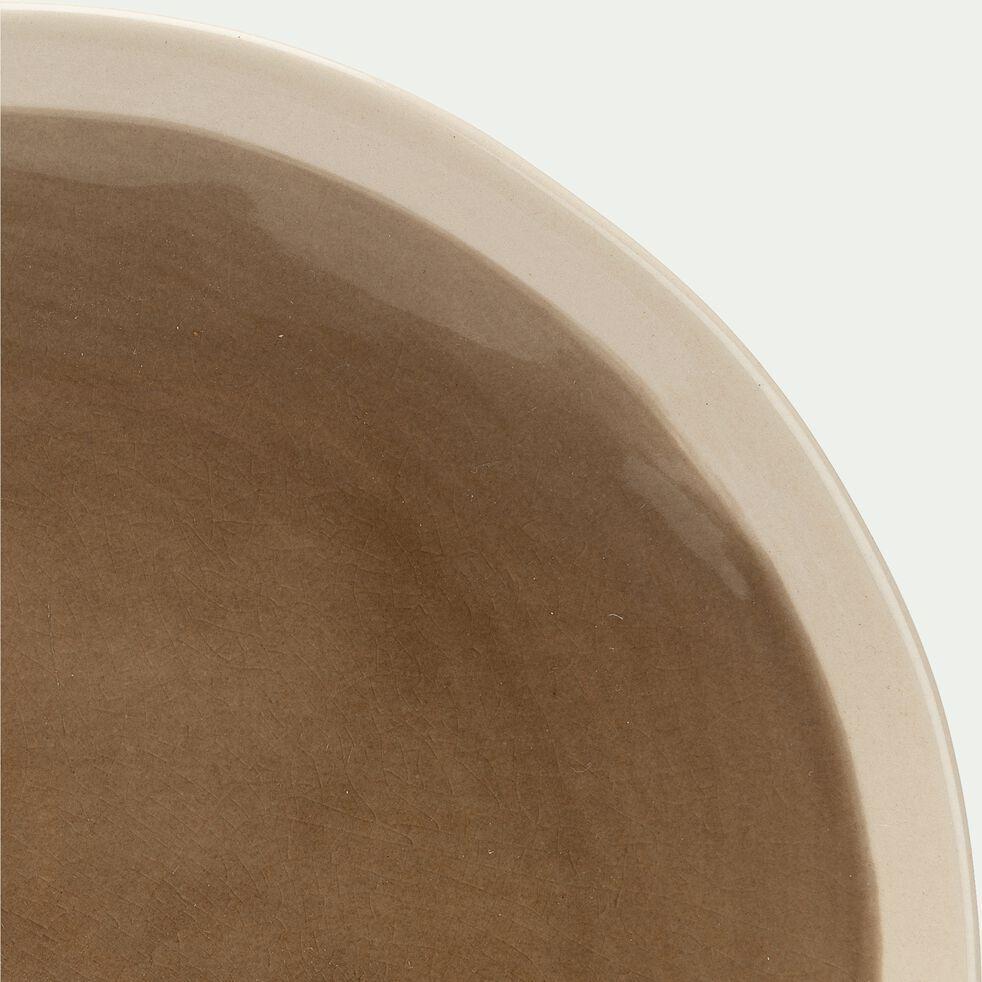 Assiette plate en grès - marron et blanc D27,5xH2,5cm-KARNAK