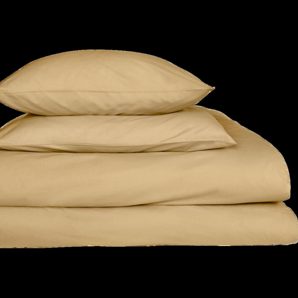 Lot de 2 taies d'oreiller en percale de coton Beige nèfle 65x65cm-FLORE