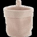 Panier de salle de bain en crochet Rose grège Ø15 cm-HONNORE
