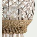 Lanterne à suspendre en fer avec frange tombante - blanc D24xH26,5cm-PURNIA