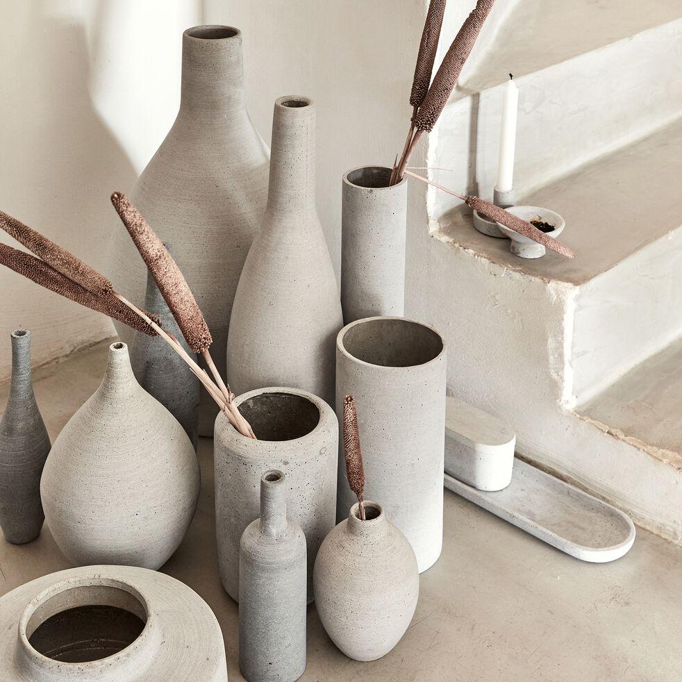 Vase bouteille effet béton en polystone - gris H31cm-CALCIS