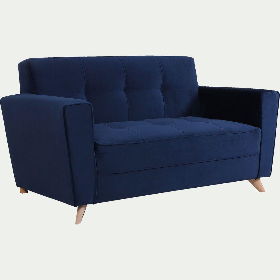 Canapé 2 places fixe en velours - bleu-VICKY