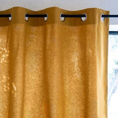 Rideau à œillets en coton - jaune argan 140x250cm-CALANQUES