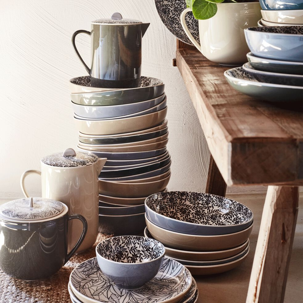 Assiette creuse en porcelaine motifs laurier - beige nèfle D21cm-AIX