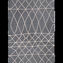 Tapis en viscose gris et blanc 160x230cm-ETHNIC