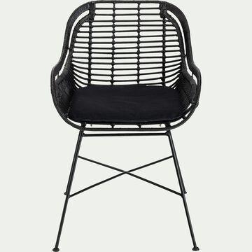Chaise en rotin - noir-MILOU