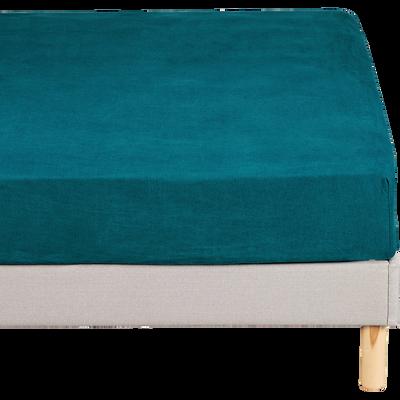 Drap housse en lin vert 160x200cm-VENCE
