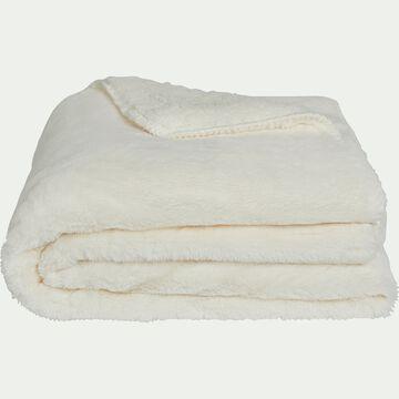 Plaid imitation fourrure en polyester - blanc ventoux 180x220cm-MARIUS