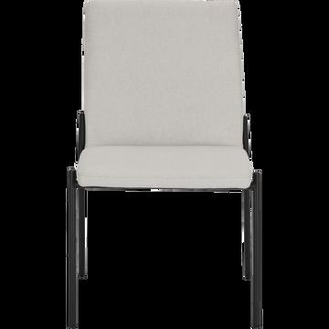 Chaise en tissu beige roucas pieds noirs-JASPE