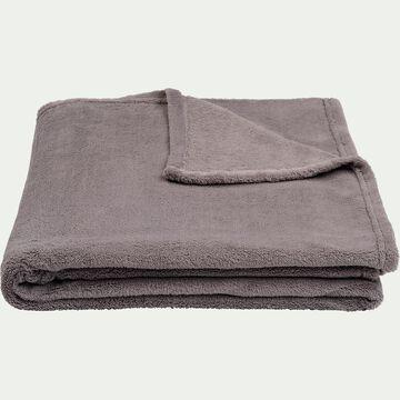 Plaid effet polaire en polyester - gris restanque 130x170cm-ROBIN