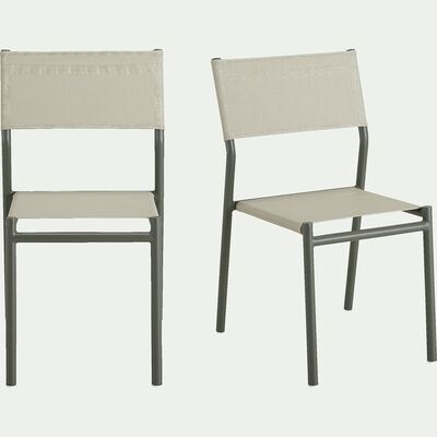 Chaise de jardin en aluminium et textilène - vert olivier-Sausset