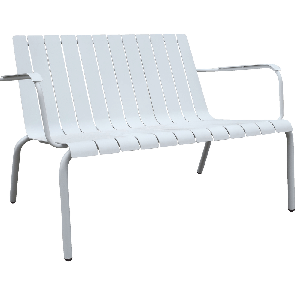 Banc de jardin blanc en aluminium (2 places)-PARADOU