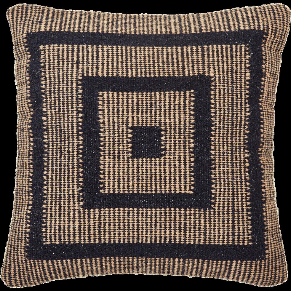 Coussin laine et coton 45x45 cm marron & noir-YOUSS