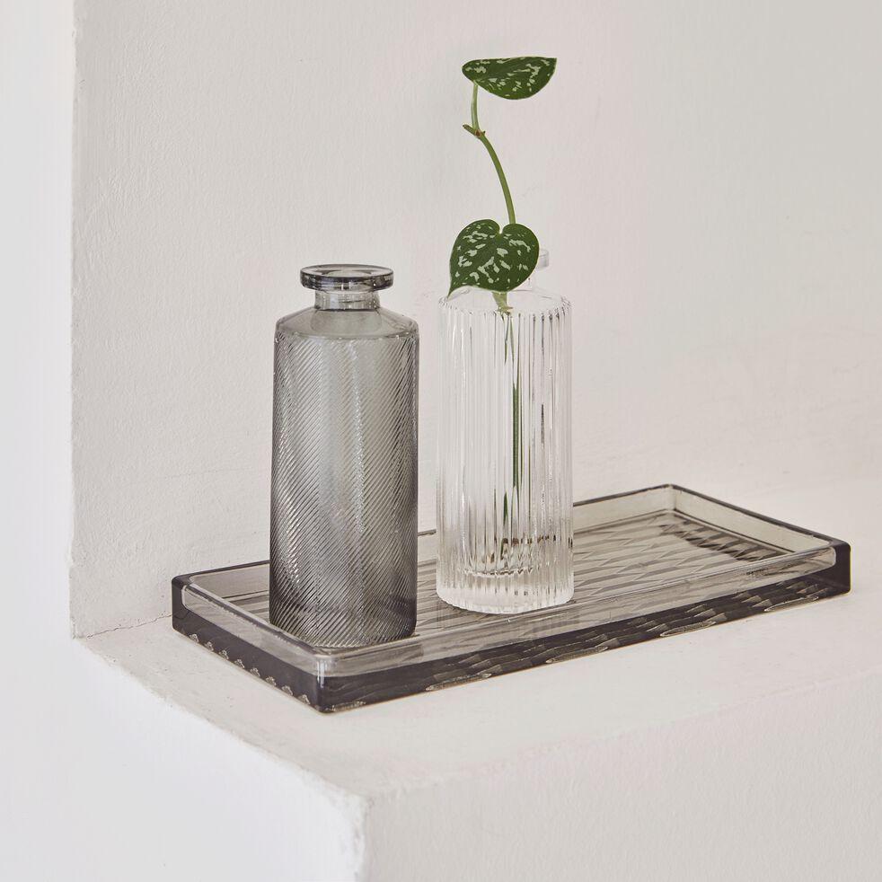Vase bouteille strié en verre - transparent H13cm-Elasa
