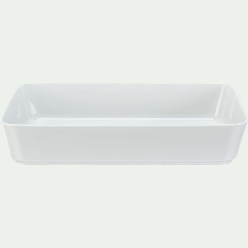 Plat rectangulaire en porcelaine D34cm - blanc-AZE