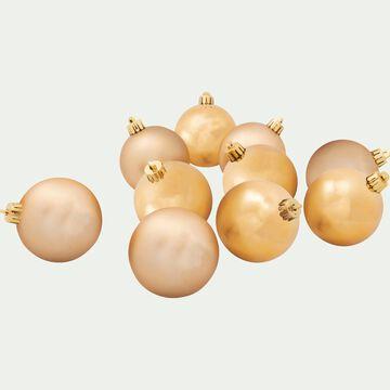 10 boules en plastique doré D6cm-Baus