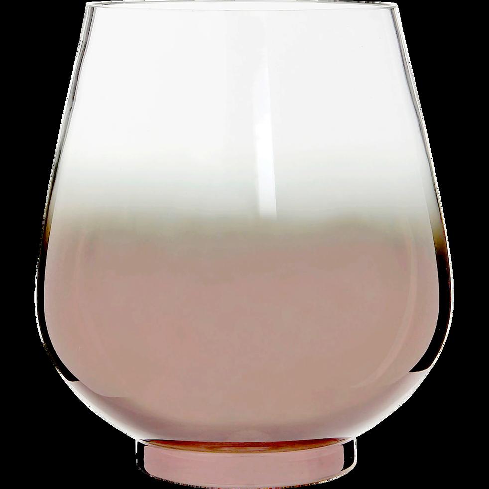 Photophore en verre base coloris cuivre h20cm-DEVON